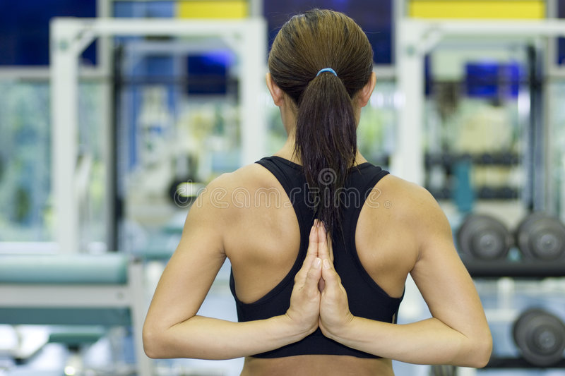 Download Yoga Stretch In Gym stock image. Image of trainer, weights - 322629