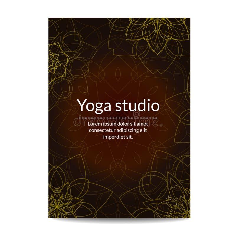 Yoga studio banner with ethnic floral mandalas vector illustration