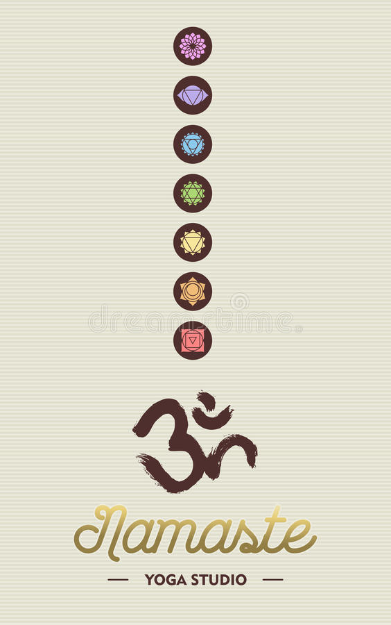 Yoga studio business concept with chakra icons. Namaste yoga studio concept template for business with chakra icons and om calligraphy element. EPS10 vector stock illustration
