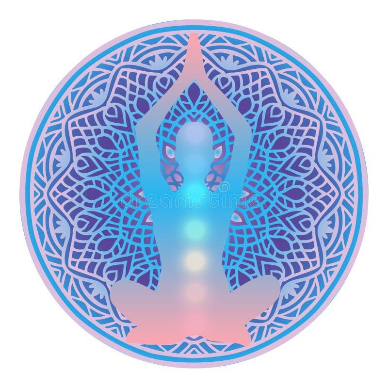 Yoga studio logo. Human silhouette meditating or doing yoga with rainbow lights of seven Chakras inside on vibrant bright mandala. Background. Sacred geometry vector illustration