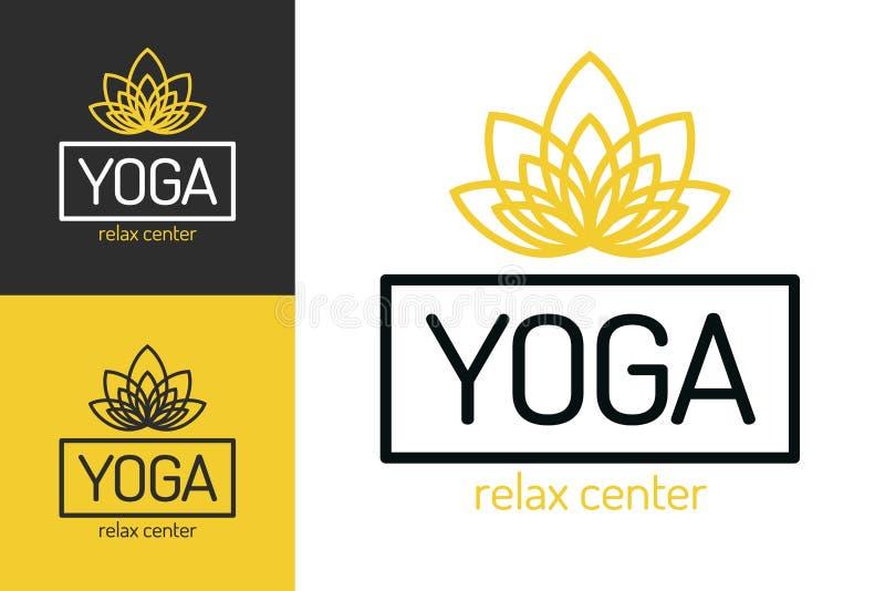 Yoga studio logo set with flower line style. For fitness center, sport emblem, meditation class. Healthcare, spa, lifestyle logotype design elements. Vector stock illustration
