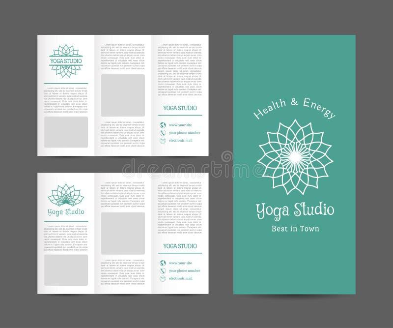 yoga brochure templates - yoga studio vector brochure template stock vector