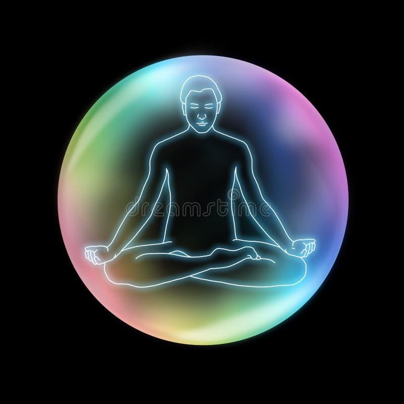 Yoga Sukhasana di consapevolezza illustrazione vettoriale