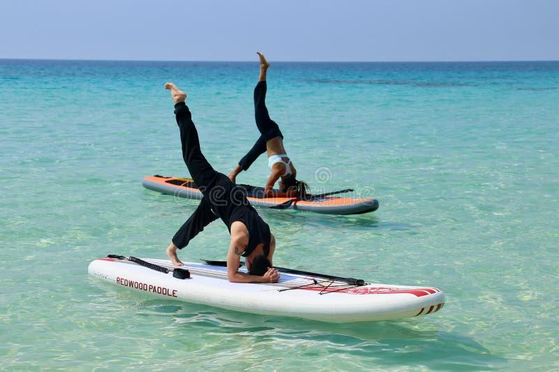 Yoga sul bordo di pagaia immagini stock