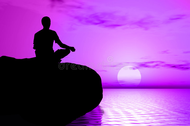 Yoga - Sunrise meditation royalty free stock images