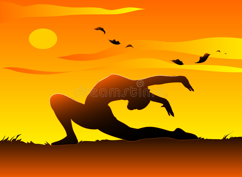 Yoga at sunset. A young girl practising yoga in the sunset. Vector illustration