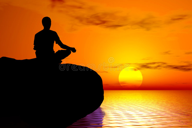 Yoga - Sunset meditation. Young boy in meditation position practising yoga