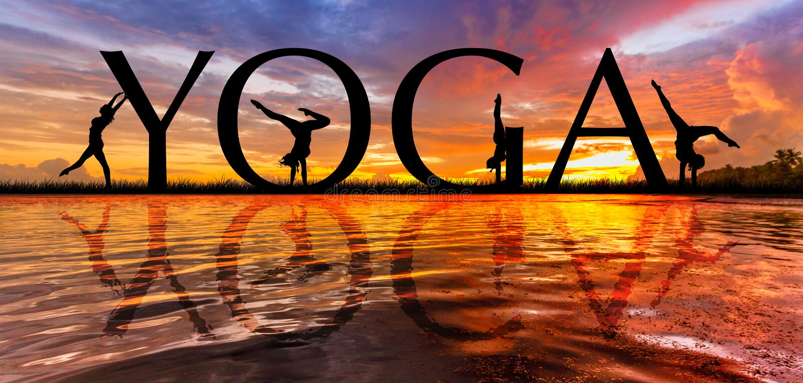 YOGA sunset meditation. YOGA word on Sunset meditation of young active women stretching in Yoga pose to keep fit and health. Healthy lifestyle, flexibility stock photo