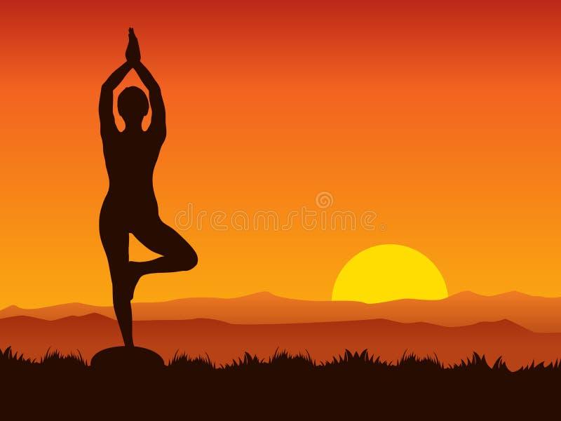 Yoga sur le coucher du soleil illustration libre de droits
