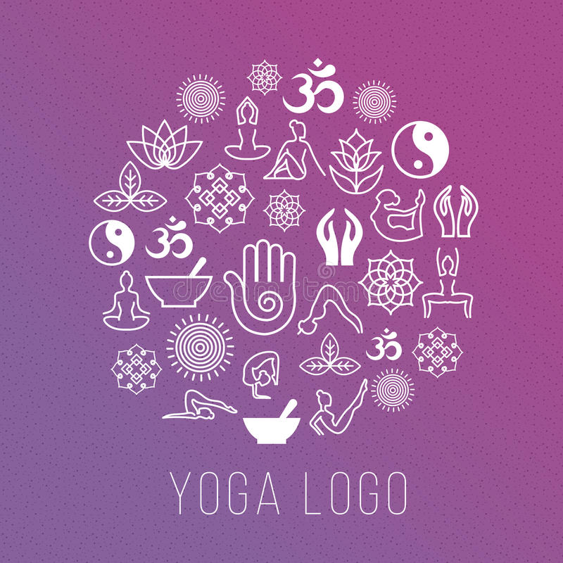 Yoga symbols in round label shape. Vector meditation and spiritual, harmony health concept royalty free illustration