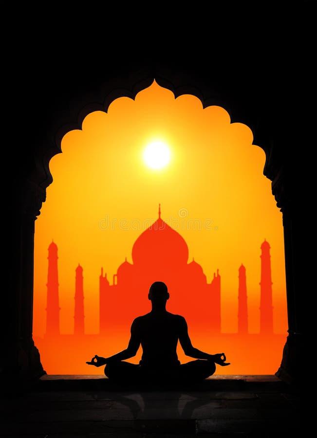 Yoga and Taj Mahal. Man silhouette doing meditation at Taj Mahal background in India royalty free illustration