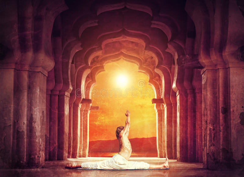 Yoga in temple stock photography