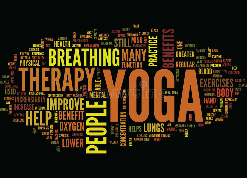 Yoga Therapy Text Background Word Cloud Concept royalty free illustration