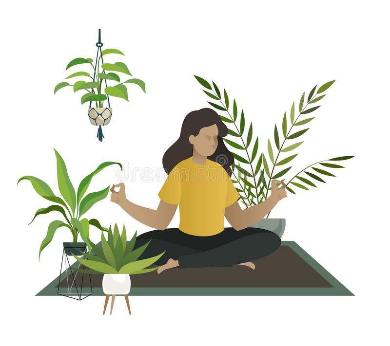 Yoga thuis De meditatie van jonge vrouw of gelukkige het mamma ontspant in van de de wildernisruimte van de huistuin de serre vec vector illustratie