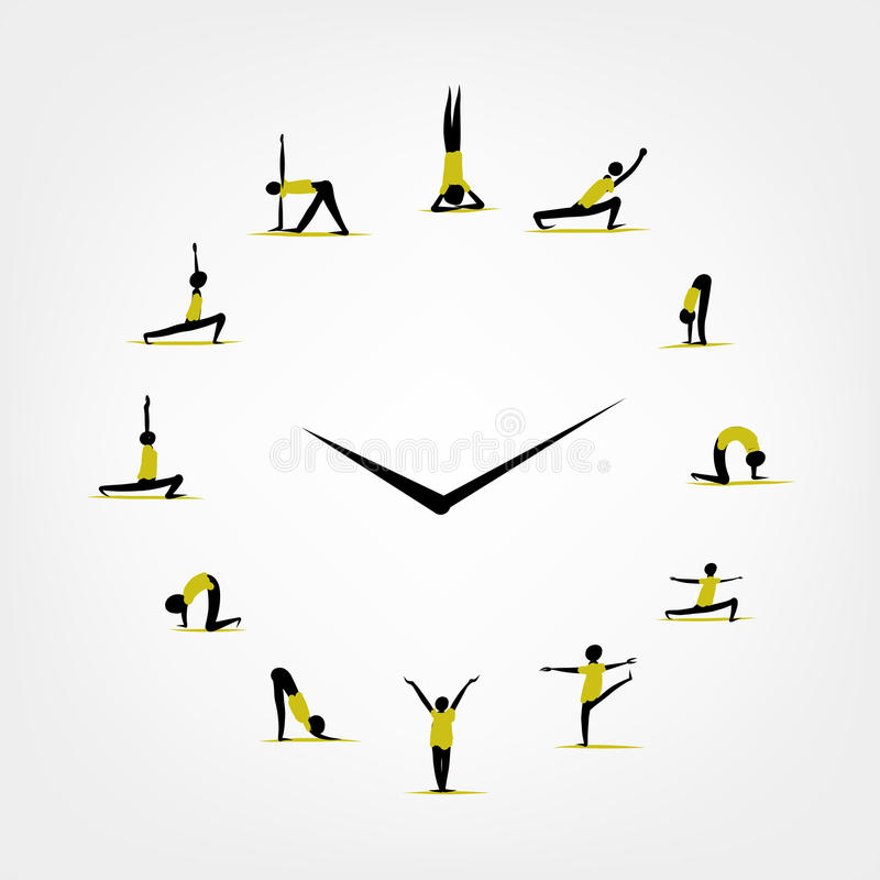 Yoga time, watch concept for your design stock illustration