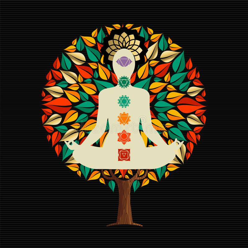 Yoga tree concept with woman in lotus pose. Yoga tree concept illustration. Woman meditating in lotus pose with chakra decoration doing relaxation exercise royalty free illustration