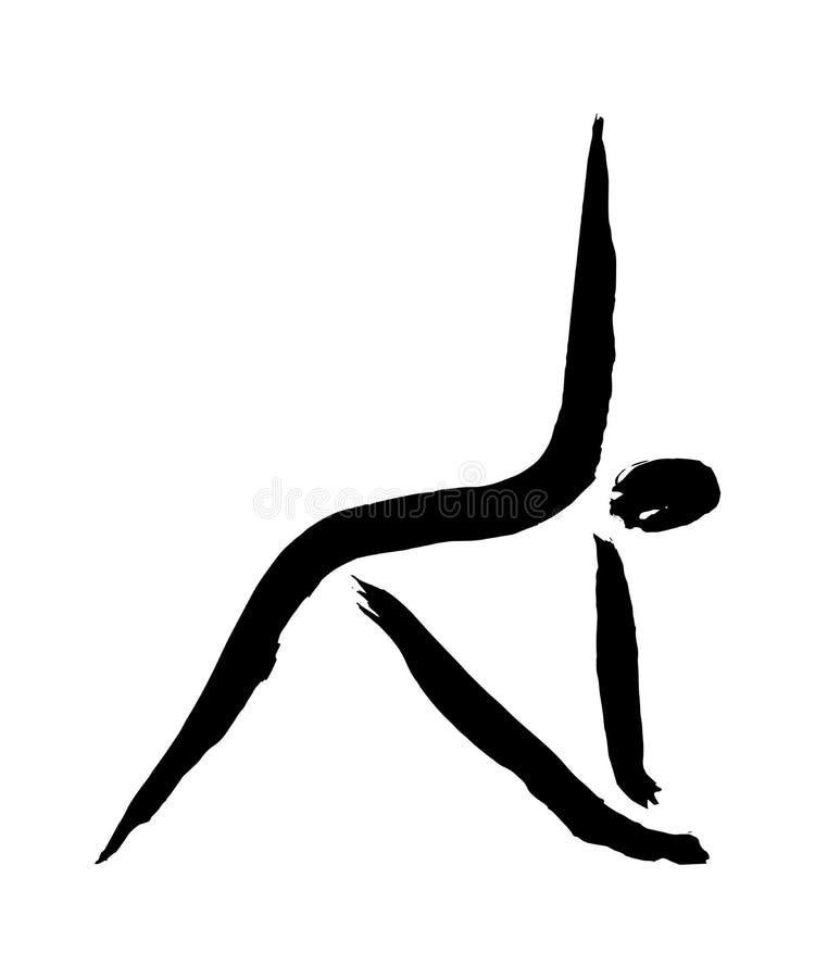 Yoga triangle pose symbol. Triangle pose yoga symbol. Trikonasana posture, handmade ink painting royalty free illustration