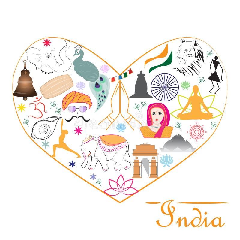 Yoga tricolora del pavo real del namaste de los símbolos de la India del corazón ilustración del vector