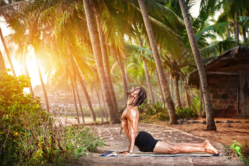Yoga in tropic royalty free stock photography
