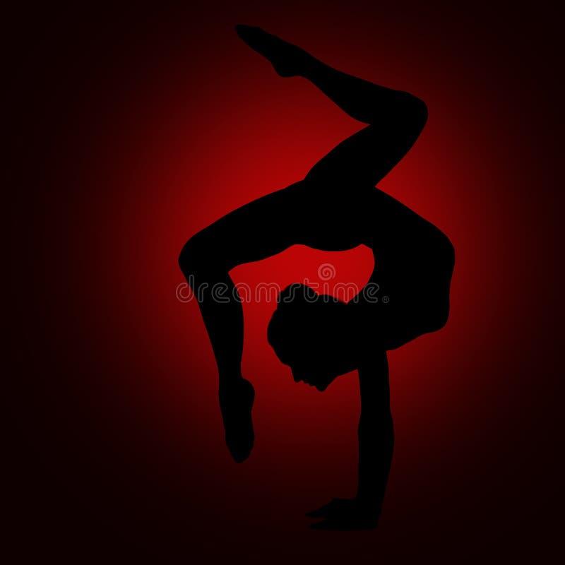 Yoga-Turner-Schattenbild, Frau biegen Gymnastik-flexiblen Körper zurück stockbild
