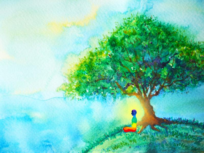 yoga umana di posa del loto di chakra di 7 colori, mondo astratto, universo dentro la vostra mente illustrazione di stock