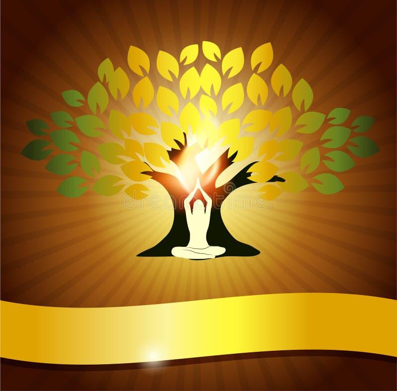 Yoga und Baum lizenzfreie abbildung