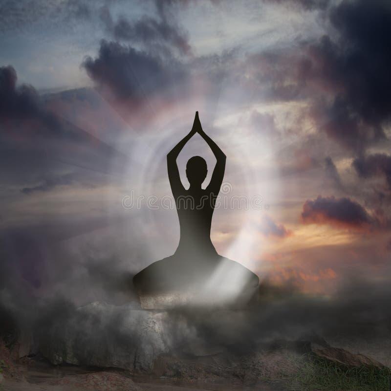 Yoga und Geistigkeit lizenzfreie abbildung
