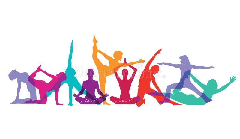 Yoga und gymnastische Haltungen lizenzfreie abbildung