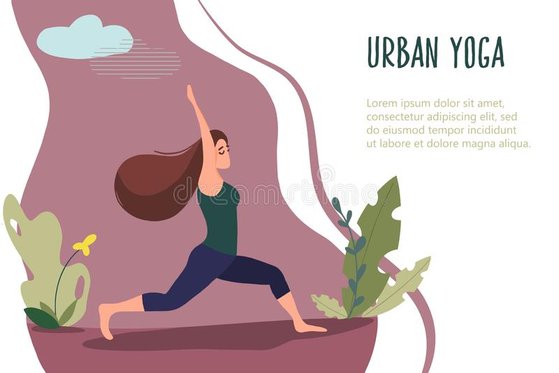 Yoga urbana 18 para las mujeres stock de ilustración