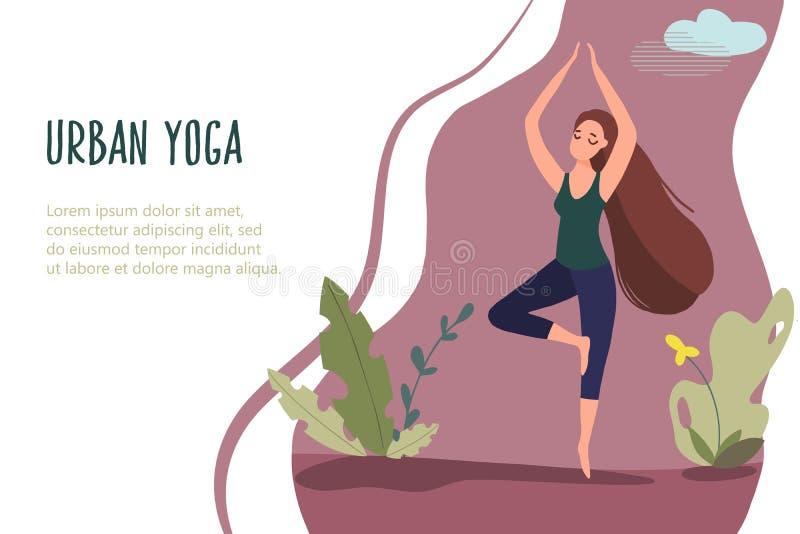 Yoga urbana 17 para las mujeres ilustración del vector