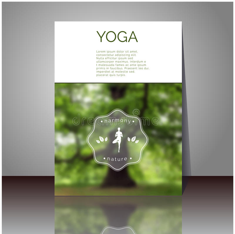 Yoga Book Cover Design ~ Yoga vector poster cover design with blurred photo