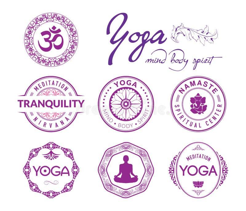 Yoga verwante zegels en verbindingen royalty-vrije illustratie