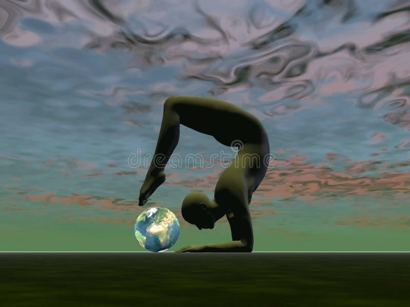 Yoga voor de 3D aarde - geef terug vector illustratie