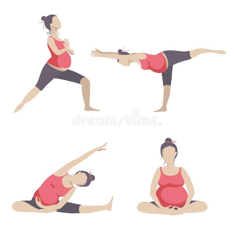 Yoga voor zwangere vrouwen royalty-vrije illustratie