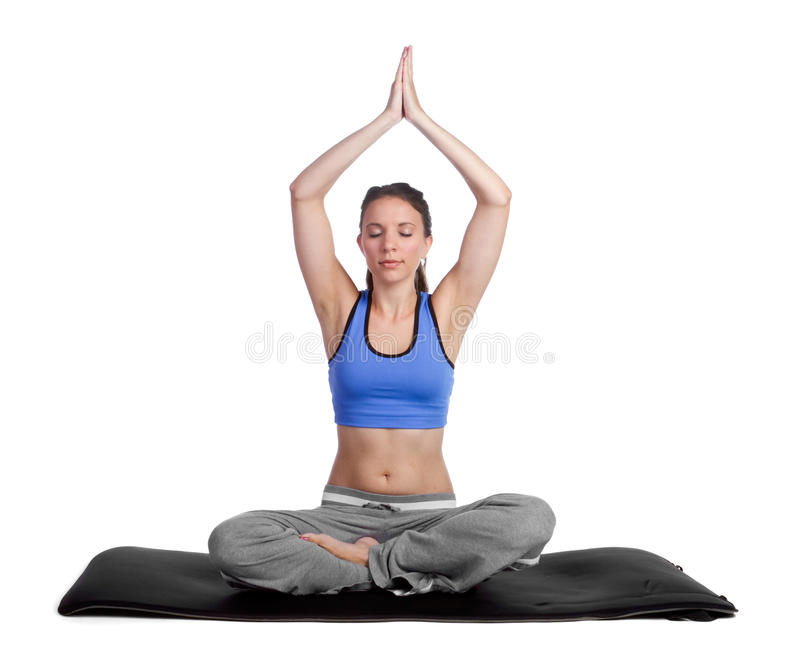 Download Yoga Woman stock photo. Image of eyes, lotus, cute, background - 16397884