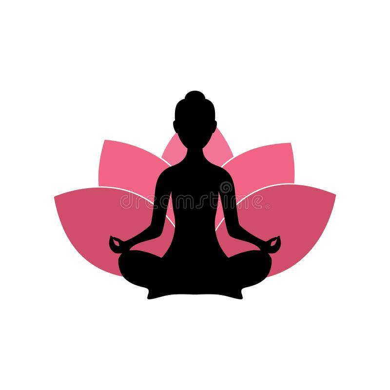 Yoga Woman Silhouette, Pink Lotus Flower Background Logo Design. Template stock illustration