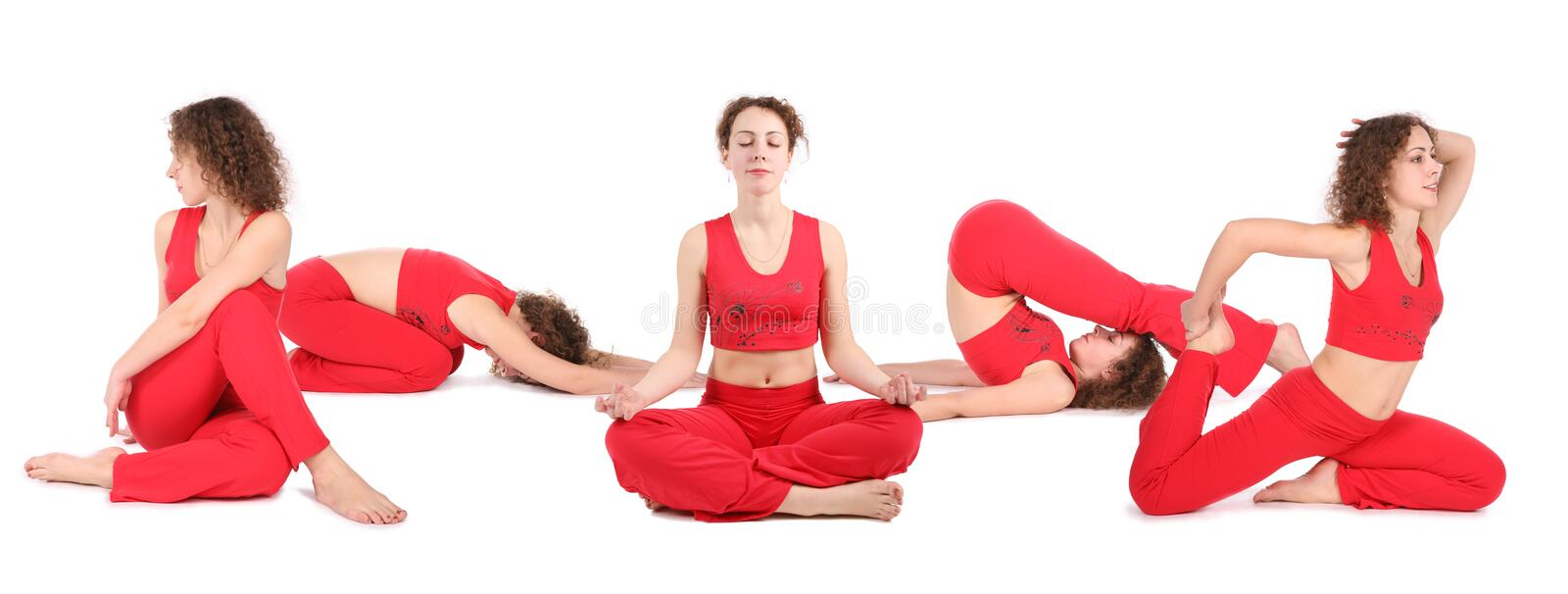 Download Yoga woman sit group stock photo. Image of group, five - 4420552