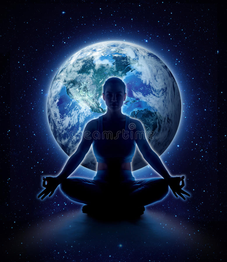 Yoga woman on the world. Meditation girl on planet earth stock images