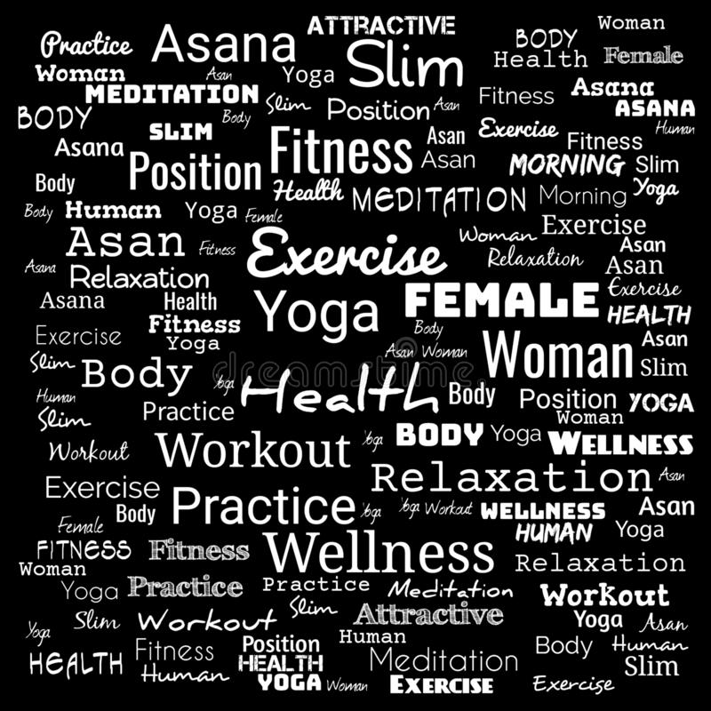YOGA. Word cloud concept illustration on black ,background for web-page,yoga text for t-shirt,yoga background for web-page stock illustration