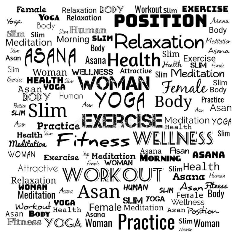 YOGA. Word cloud concept illustration on black ,background for web-page,yoga text for t-shirt,yoga background for web-page vector illustration
