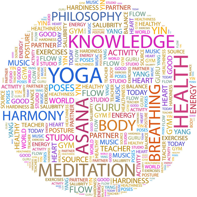 YOGA. Word cloud illustration. Tag cloud concept collage
