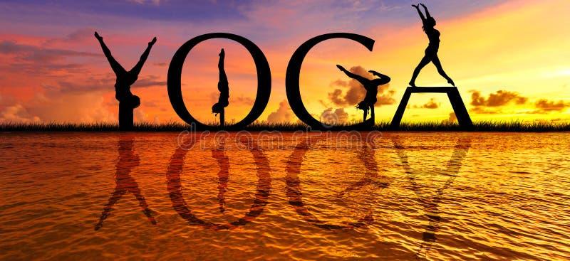 YOGA sunset meditation stock image