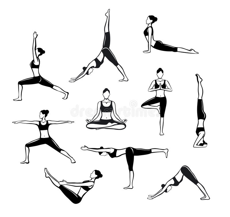 Free Yoga Workout. Silhouettes Of A Woman In Tree, Sirsasana, Boat, Warrior One, Two, Three, Downwards And Upwards Facing Dog, Lotus Royalty Free Stock Photography - 78864477