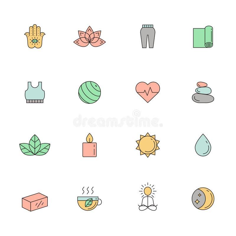 Yoga y sistema coloreado balneario del vector del icono Diseño simple del esquema libre illustration