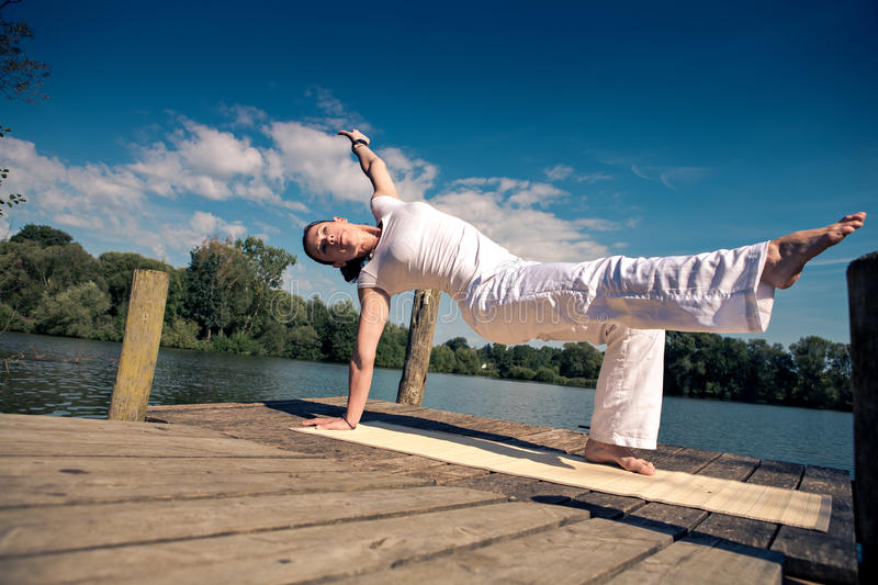 Download Yoga stock photo. Image of jetty, healthy, girl, summer - 30422758