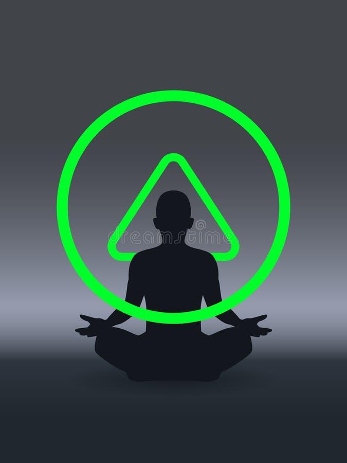 Yoga, zen, cognizione, rilassamento del bucaniere e cognizione Illustrazione di vettore illustrazione vettoriale