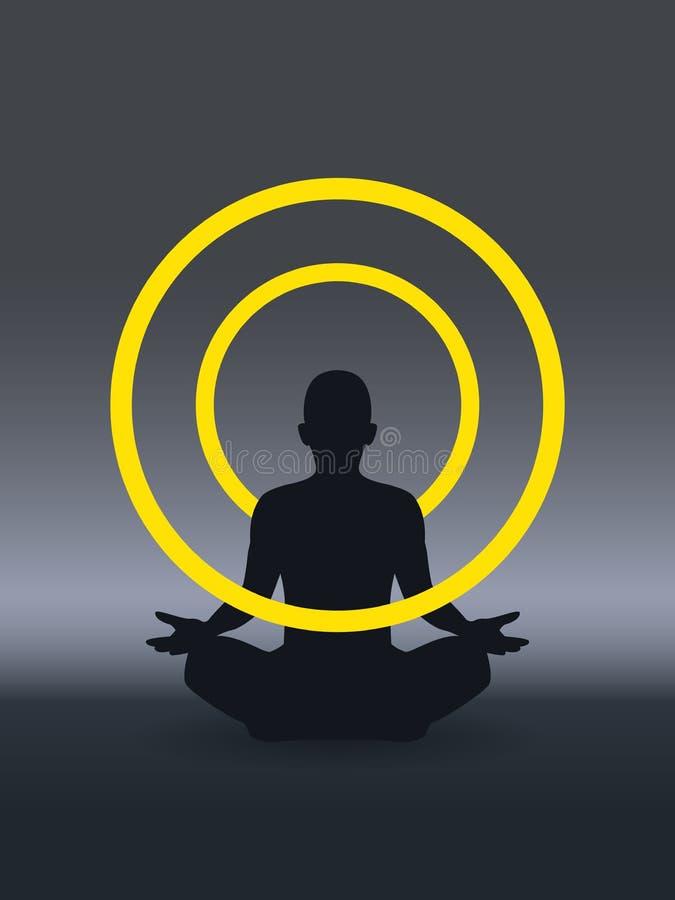 Yoga, zen, kognition, sjörövareavkoppling och kognition också vektor för coreldrawillustration royaltyfri illustrationer