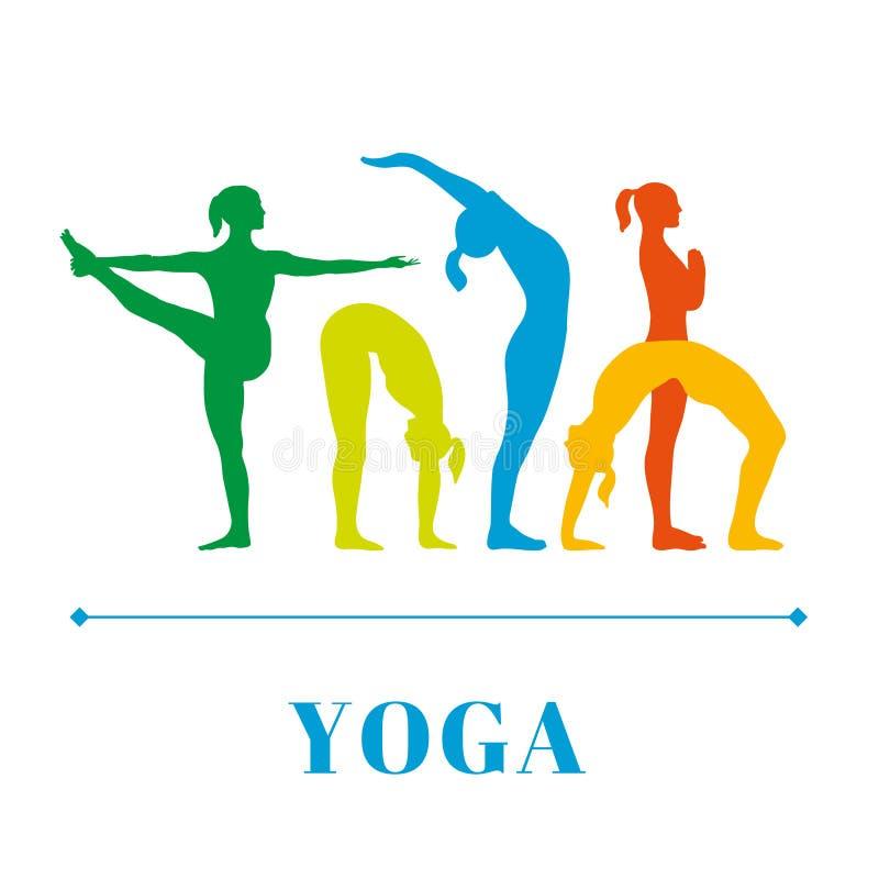 Yogaaffischen med konturer av kvinnor i yogan poserar på en vit bakgrund stock illustrationer