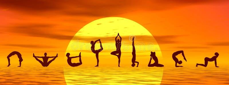 Yogaasanas vid solnedgång - 3D framför stock illustrationer
