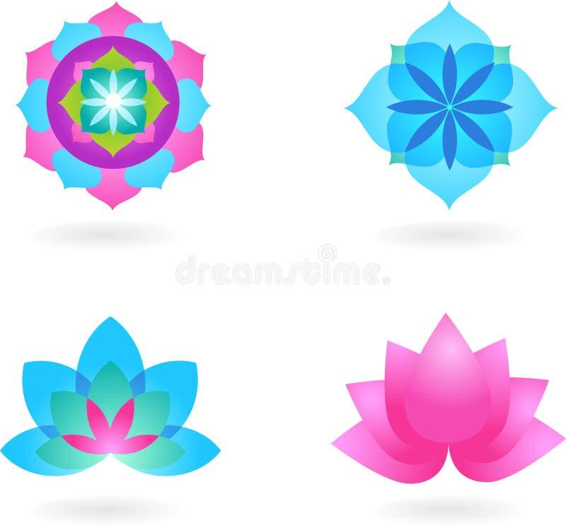Yogabakgrundsset vektor illustrationer